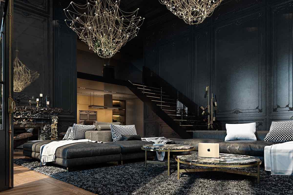 Apartment Luxus-Einrichtungsideen schwarz Eichenparkett