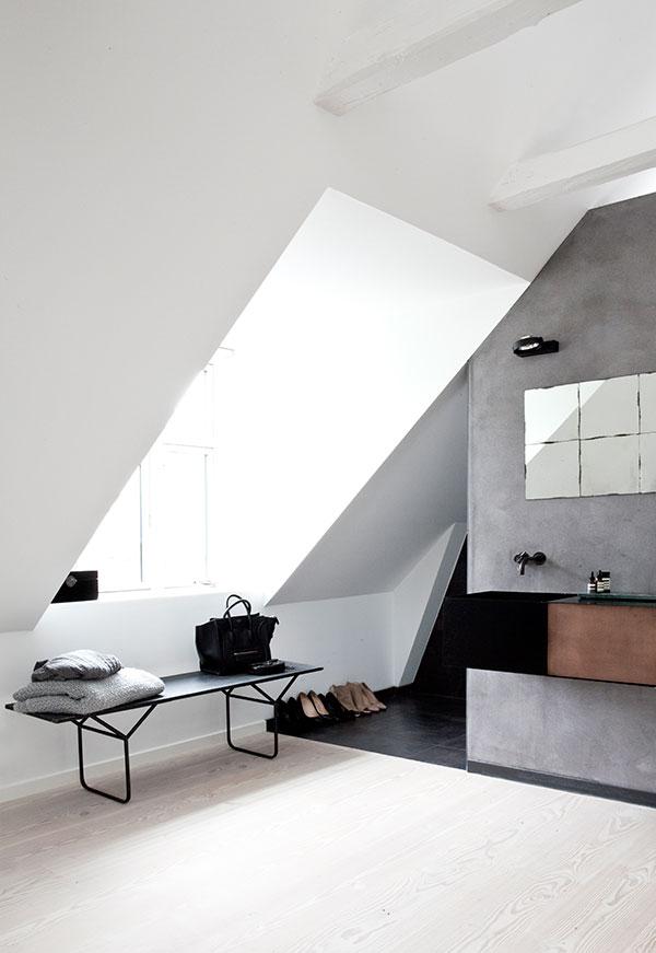 Badezimmer offen Wand Betonoptik
