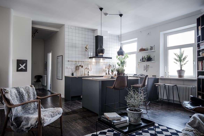 Moderne Wohnküche in  grau