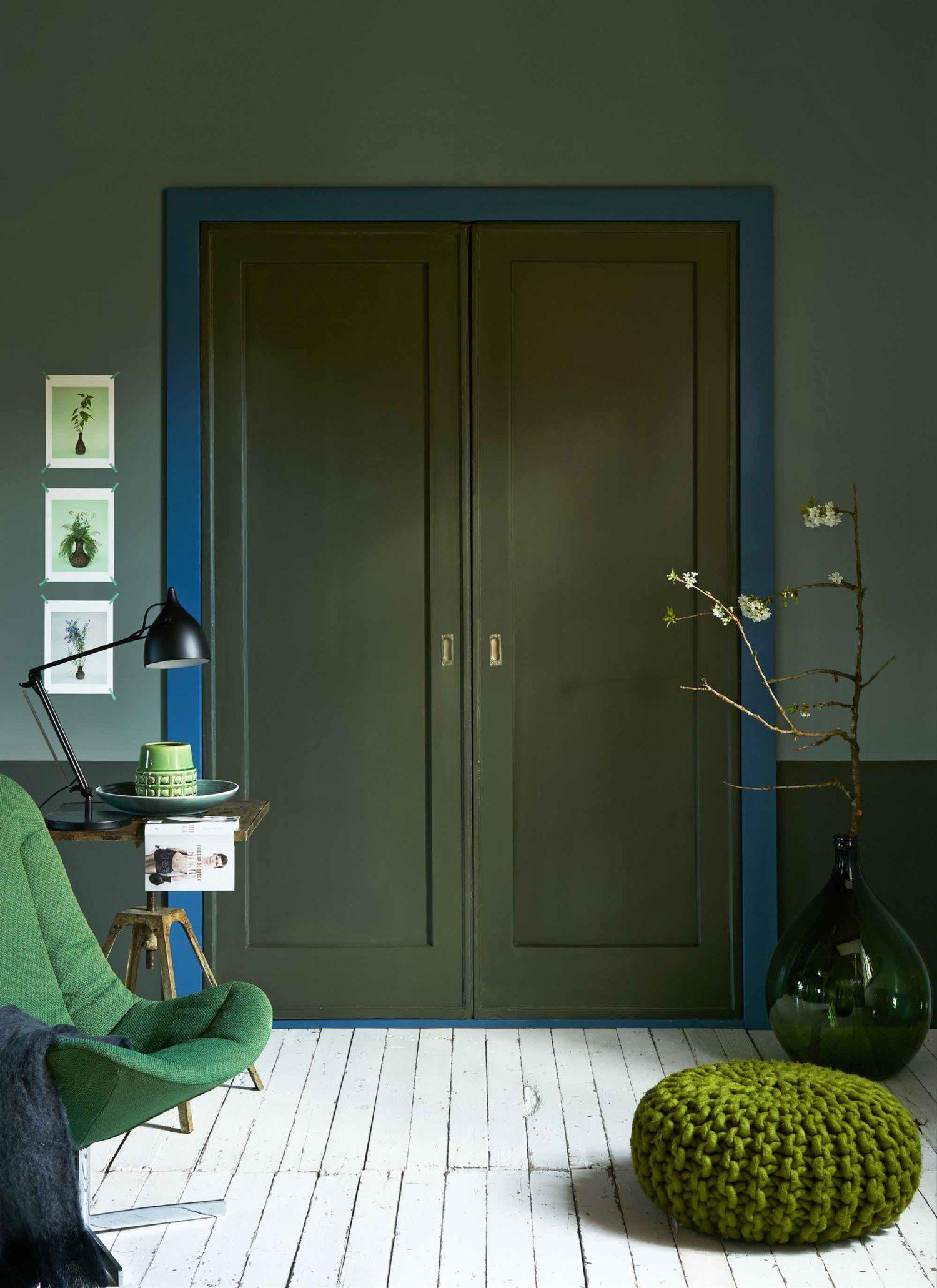 Farbmix, blau und grüne Wandfarben